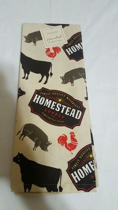 Sonoma Homestead Animal Kitchen Towel 100% Cotton Rooster Cow Pig Home Farm A in Home & Garden, Kitchen, Dining & Bar, Linens & Textiles | eBay