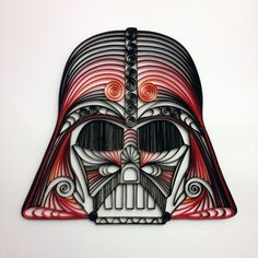 Quilled Star Wars art--Darth Vader Helmet (RED).