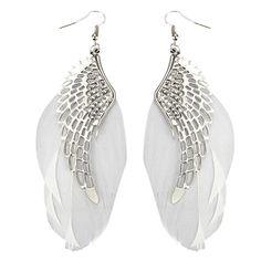 New Arrive Women's Angel Wings Feather Dangle Earring Hook Chandelier Drop Long Earrings 8A8T