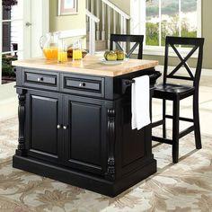 Crosley Furniture 3 Piece Kitchen Island X Back Counter Chair Set Portable Islandbutcher Block