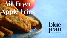 Easy recipe for air fried Apple Fries that are crispy on the outside and warm and tender on the inside! Follow this easy recipe to make this healthy snack in your air fryer. Perfect to dip in the amazing, but simple to make, Caramel Cream Cheese Dip. Air Frying is like baked apples, not deep fried so you can feel good about serving this fun snack or dessert! #bluejeanchef #applefries Easy Baking Recipes, Apple Recipes, Easy Healthy Recipes, Fall Recipes, Dog Food Recipes, Snack Recipes, Dessert Recipes, Apple Fries, Fried Apples