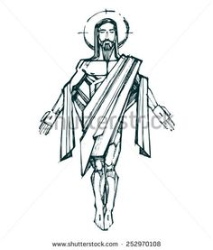 Jesus Resurrection b Hand drawn vector illustration or drawing of Jesus Christ Resurrection - stock vector