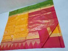 Temple Two Colours Kanchi Pattu Soft Silks Sarees - Trendy Handloom Kanjivaram Sarees, Kanchipuram Saree, Lehenga Choli, Bridal Silk Saree, Soft Silk Sarees, Saree Dress, Indian Sarees, Indian Fashion, Blouse Designs