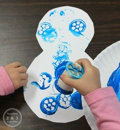 Snowman Art for Toddlers - Painting with Spools
