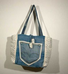 Upcycled denim bag. Handmade in Italy from cotton di caryhandmade su Etsy
