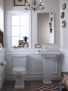 Love the chandeleir lighting! Chair rail with molding is pretty, too.  Powder Room Design, Pictures, Remodel, Decor and Ideas - page 12