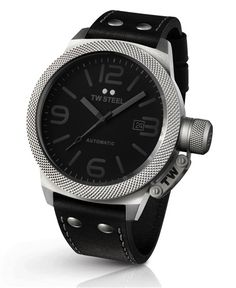 TW Steel Unisex Automatic Watch with Black Dial Analogue Display and Black Leather Strap Gents Watches, Cool Watches, Watches For Men, Unique Watches, Wrist Watches, Daniel Wellington, Fossil, Tommy Hilfiger, Mechanical Watch