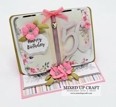 Fancy Fold Cards, Folded Cards, Birthday Card Design, Birthday Cards, Diy And Crafts, Paper Crafts, Easel Cards, Matching Gifts, Paper Folding