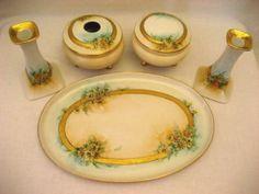 Antique Dresser Vanity Set Hand Painted Daisies Austrian Porcelain 1900