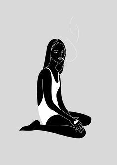 Illustration A Lazy Afternoon par Johanna Olk Creasenso Creasenso Creativ Art Et Illustration, Character Illustration, Creative Illustration, Art Inspo, Denim Art, Line Art, Printmaking, Art Drawings, Wallpaper
