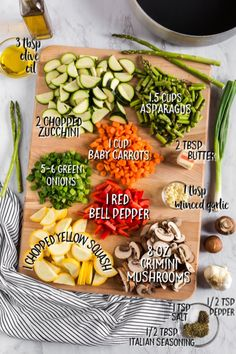 ingredients for sauteing vegetables laid out with measurements Garlic Recipes, Vegetable Recipes, Vegetarian Recipes, Healthy Recipes, Vegetable Medley, Vegetable Side Dishes, Side Dishes Easy, Side Dish Recipes, Sauteed Vegetables
