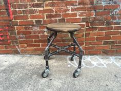 Jeff-Bar Stool, Industrial Stool, Pipe Furniture by TheCleverRaven on Etsy https://www.etsy.com/listing/279227038/bar-stool-industrial-stool-work-stool