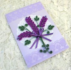 Quilling Card Paper Quilled Personalized LAVENDER Spray Paper Doily Mothers Day Birthday Anniversary Handmade by Enchanted Quilling on Etsy.