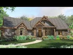 This house plan has the warmth and comfort of a home you'll want to spend a lot of time in.The stunning exterior takes your breath away with a great balance of wood and stone.Appointed with a maximum of amenities on the inside, the home includes a gourmet kitchen and a formal dining room with two-sided fireplace shared with the family room.You'll love entertaining in this fabulous home with its outdoor living areas and barbecue porch,The master suite has access to the rear porch and the…