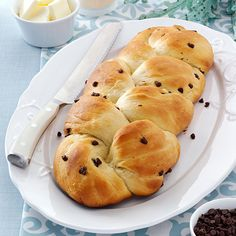 Chocolate Chip Challah Recipe -I'm fond of baking and since Challah is not available where I live, I've created my own version to serve at Christmas and Easter. It is delicious and not as much work as you would think. There is a subtle chocolate flavor and when served warm the chocolate chips may be still melty. Leftovers are great for French toast or bread pudding.—Lorraine Caland, Shuniah, Ontario