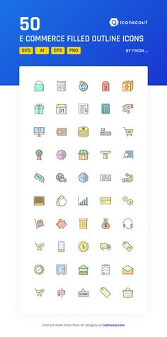 E Commerce Filled Outline  Icon Pack - 50 Filled Outline Icons