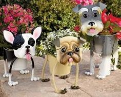 Outdoor Planters Fun Dogs - You Pick One - Schnauzer French Bulldog Pug Yorkie Clay Flower Pots, Flower Pot Crafts, Clay Pot Crafts, Clay Pots, Diy And Crafts, Garden Crafts, Bottle Crafts, Yard Art, Cute Dogs