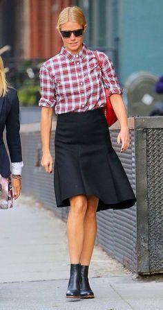 gwyneth-paltrow-plaid-shirt-ruffle-skirt-ankle-boots-via-vogue.com