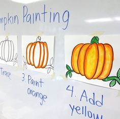 Step by Step Pumpkin Painting · Art Projects for Kids - Art Projects for Kids Easy method to paint d Halloween Art Projects, Theme Halloween, Fall Art Projects, School Art Projects, Thanksgiving Art Projects, Halloween Painting, Halloween Drawings, Halloween Prop, Halloween Witches