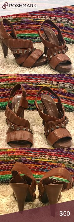 BGCB brown strappy heals High heeled.  Brown leather.  Studded.  Strappy heels. Never worn PERFECT condition (sorry, no box) BCBGeneration Shoes Heels