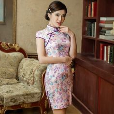Chic Fancy Cotton Mandarin Collar Mini Qipao with Floral Pattern & Appliques - iDreamMart.com