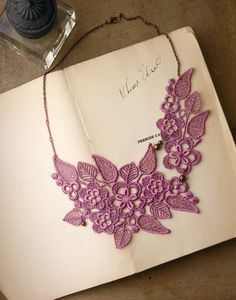 lace necklace - CELIA - lilac by White Owl