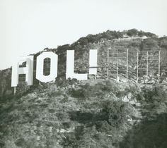 """The Hollywood Sign under construction, The sign was first erected in 1923 and originally read """"HOLLYWOODLAND"""". It's purpose was to advertise the name of a new housing development in the hills above the Hollywood district of Los Angeles, California Famous Buildings, Famous Landmarks, Hollywood Sign, Vintage Hollywood, Classic Hollywood, Hollywood Homes, Hollywood Glamour, Williamsburg Bridge, Under Construction"""