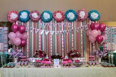 by Conká - www.conka.com.br party manu240814 conká festa festapersonalizada jardim menina festainfantil laços rosa turquesa tiffany vintage passarinho flor balões cromus decoração flores personalizados lembrancinhas