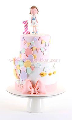 Balloon Birthday Cakes, Balloon Cake, First Birthday Cakes, Birthday Cake Girls, Cake Decorating Designs, Cake Designs, Fondant Cakes, Cupcake Cakes, Pistachio Cake