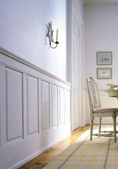 Raised paneling sets off any room or hallway, for a more formal look.  Paint or stain grade woods available for your wainscot project.
