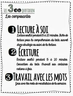 Les 3 au quotidien French Teacher, Teaching French, Reading Resources, Teaching Reading, Daily Five, French Resources, French Immersion, Readers Workshop, Learn French