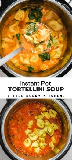 Instapot Soup Recipes, Easy Soup Recipes, Healthy Recipes, Fall Recipes, Crockpot Chicken Soup Recipes, Beef Recipes, Healthy Food, Creamy Tortellini Soup, Tortellini Recipes