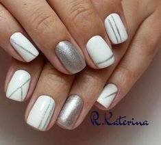 33 Simple and Yummy Nail Art Designs Loading. 33 Simple and Yummy Nail Art Designs White Nail Designs, Simple Nail Art Designs, Line Nail Art, Lines On Nails, Nail Polish, Nail Nail, Nail Decorations, Simple Nails, White Nails