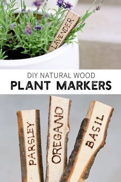 Make sure the whole fam can label and identify the plants in the garden. DIY Natural Wood Plant Markers - so easy you won't believe it! Herb Labels, Garden Labels, Plant Labels, Garden Plant Markers, Herb Markers, Repurposed Wood, Garden Signs, Large Plants, Wood Wood