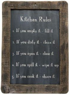 The Kitchen Rules Blackboard stenciled on a distressed blackboard slate with a grungy stained wooden frame. H x W, with a pre-drilled hole at the top for hanging. Primitive Kitchen, Country Primitive, Primitive Decor, Rooster Kitchen, Primitive Signs, Primitive Bedding, Primitive Stitchery, Primitive Quilts, Primitive Homes
