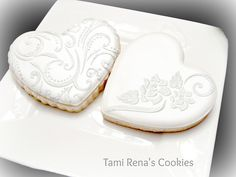 White on White Stenciled Hearts