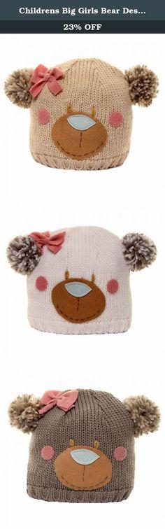 23f9e5bc34c Childrens Big Girls Bear Design Knitted Winter Ski Hat (One Size) (Beige)