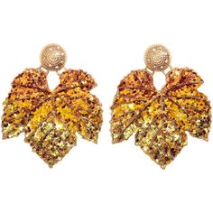 Large earrings (£8.78) ❤ liked on Polyvore featuring jewelry, earrings, earring jewelry, leaves jewelry, sequin earrings, metal earrings and leaf jewelry