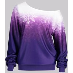 Purple 2xl Ombre Color Snowflake Print Skew Neck Sweatshirt ($13) ❤ liked on Polyvore featuring tops, hoodies, sweatshirts, blue sweatshirt, ombre sweatshirt, purple top, blue ombre top and purple sweatshirt