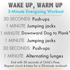5-Minute Morning Workout- good for any time of day!