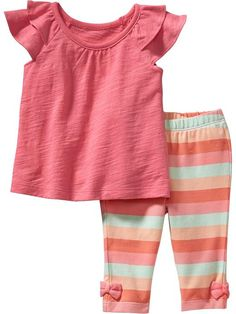 Flutter-Sleeve Top & Striped Leggings Sets for Baby Product Image