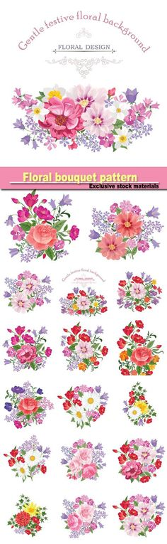 Floral bouquet pattern vintage vector card with flowers