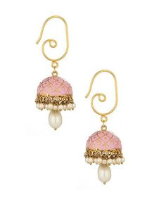 These attractive pink colored jhumki earrings are delicately designed with Meenakari work in a geometric pattern. These lovely earrings with its pretty shade will enhance your overall appearance and give you a rosy look! -www.cooliyo.com