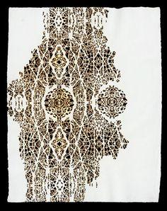 Donna Ruff....burn drawing on Khadi paper.