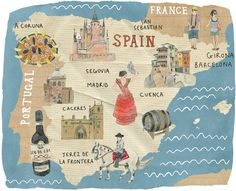 Kate evans - map of spain Travel Maps, Travel Posters, Map Of Spain, Map Icons, City Illustration, City Maps, Cartography, Spain Travel, Map Art