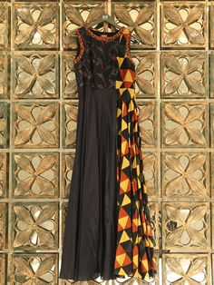 Black Printed Silk Anarkali Kurti
