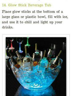 Glow Stick Beverage Bowl  http://www.listotic.com/cool-glow-stick-ideas/