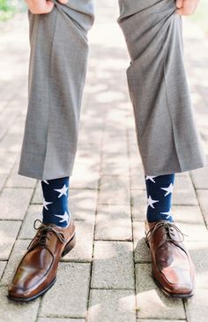 Groom & Groomsmen: A Red, White, and Blue Style Wedding //  Loving these star-spangled socks photo by Two Birds Photography on Style Unveiled