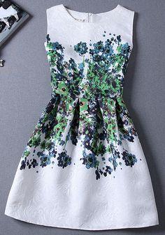 Green Floral Print Pleated Zipper sleeveless Vintage Casual Mini Dress