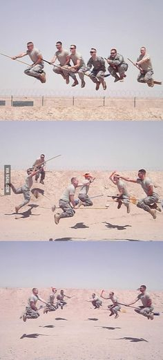 The Latest Military Technology, Quidditch! Geeks in fatigues. Love it!